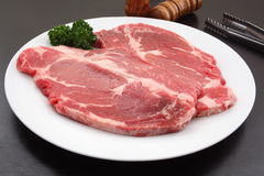 American Sirloin Beef on White Plate Stock Image