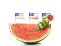 American slice of melon. On a white background Royalty Free Stock Image