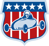 American Soap box derby car. Illustration of an american Soap box derby car with stars and stripes in the background Royalty Free Stock Photo