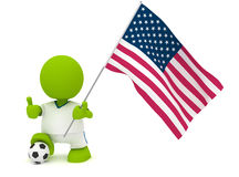 American Soccer. Illustration of a man in an American soccer jersey with a ball holding a flag. Part of my cute green man series Stock Images