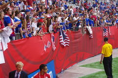 American soccer fans display American flags at stadiums Royalty Free Stock Photos