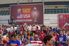 American soccer fans at the stadium Stock Images