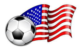 American Soccer Flag Illustration. Illustration of a American flag with the soccer ball Stock Photography