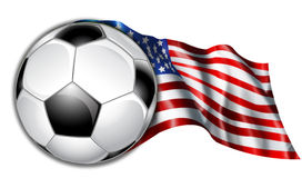 American Soccer Flag Illustration. Illustration of a American flag with the soccer ball Stock Image