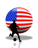 American Soccer Football Logo. 3D Flag of the USA ball with silhouetted Soccer or Football player for logo or icon Stock Photo