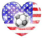 American soccer heart flag Royalty Free Stock Images