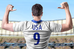 American soccer player in the stadium Royalty Free Stock Image