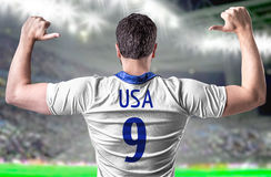 American soccer player in the stadium Royalty Free Stock Photos