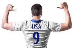 American soccer player on white background Stock Photo