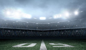 American soccer stadium. An imaginary stadium is modelled and rendered Royalty Free Stock Image