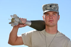 American Soldier. Holding a bomb Stock Images