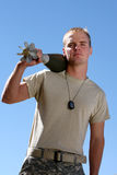 American Soldier. Holding a bomb stock photo