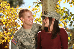 American Soldier. On a date with his girlfriend stock photos