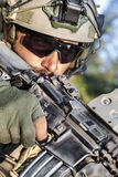 American Soldier aiming his rifle Royalty Free Stock Image