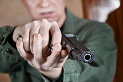 American soldier aiming pistol Stock Photography