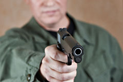 American soldier aiming pistol Stock Images