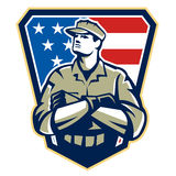 American Soldier Arms Folded Flag Retro. Illustration of an American solider military serviceman looking up with arms folded facing front with USA stars and Stock Images