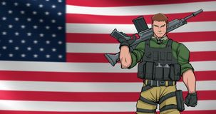 American Soldier Background Animation stock footage