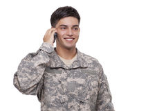 American soldier communicating over cell phone Royalty Free Stock Photography