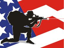 American soldier defending his country. Patriot soldier firing his rifle Vector Illustration