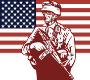American soldier with flag Royalty Free Stock Photos