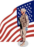 American soldier with flag Stock Photography