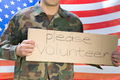 American soldier holding recruitment sign Stock Photo