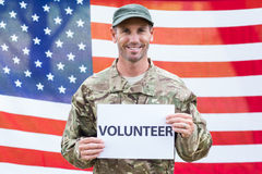 American soldier holding recruitment sign Royalty Free Stock Photo