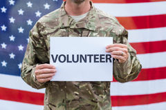 American soldier holding recruitment sign Royalty Free Stock Photography