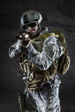 American Soldier with mask and rifle Stock Photos