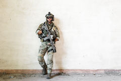 American soldier poses during military operation Royalty Free Stock Photos