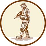 American Soldier Rifle Walking Circle Cartoon Stock Images