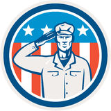 American Soldier Salute Flag Circle Retro stock illustration