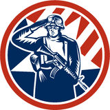 American Soldier Salute Holding Rifle Retro. Illustration of an American soldier serviceman saluting holding rifle gun facing front inside circle done in retro Stock Photos