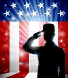 American Soldier Saluting Flag Patriotic Design. A patriotic American soldier standing and saluting in front of a flag background stock illustration