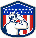American Soldier Saluting Flag Shield Stock Photos