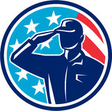 American Soldier Serviceman Saluting Flag Circle Retro. Illustration of an american soldier serviceman silhouette saluting set inside circle with usa flag stars Stock Images