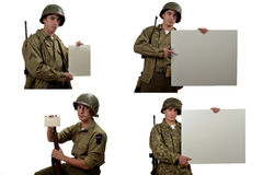 American soldier show a sign Stock Photography