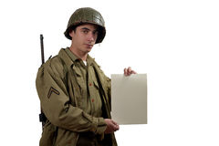 American soldier show a sign Royalty Free Stock Images