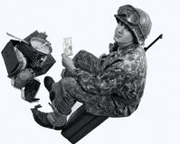 American soldier shows a photograph Stock Images