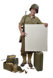 American soldier shows a sign Royalty Free Stock Image
