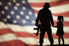 American soldier silhouette. With beautiful american flag Royalty Free Stock Photos