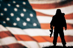 American soldier silhouette Royalty Free Stock Images