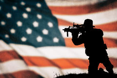 American soldier silhouette. American soldier black silhouette with american flag Stock Photography