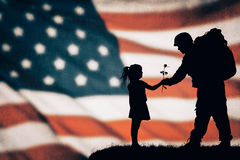 American soldier silhouette. On the american flag Stock Image