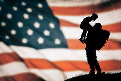 American soldier silhouette. On the american flag Royalty Free Stock Images