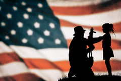 American soldier silhouette. On the american flag Stock Images