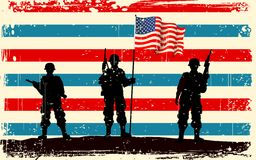 American soldier standing with American flag. Illustration of American soldier standing with American flag Royalty Free Stock Photos