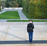 American Soldier Stands at attention in Arlington National Cemetery stock image
