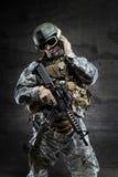 American Soldier talking via radio Royalty Free Stock Photos